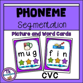 Phoneme Segmentation cards with pictures and words