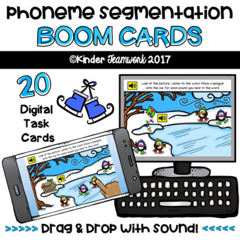 Phoneme Segmentation with Penguin Theme: Digital BOOM Task Cards {NO PREP!}