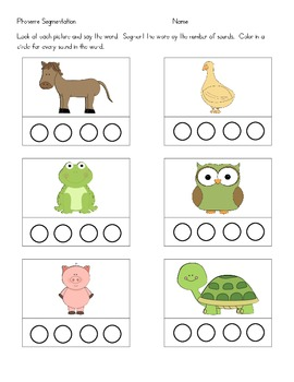 Phoneme Segmenting - Animals