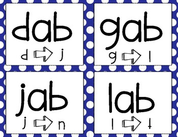 Phoneme Substitution Cards (-ab Word Family)