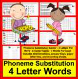 Phoneme Substitution Literacy Centers-Change A Letter-Level Two-4 Letter Words