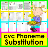 Phoneme Substitution Literacy Centers- Change A Letter - c-v-c Words-Level 1-CC