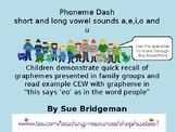 Phoneme dash long and short vowel sounds a,e,i, o and u