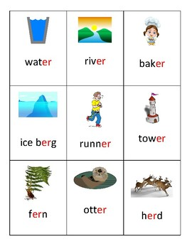 Phoneme flash cards- ur ir er- Robber Rs- R controlled vowels