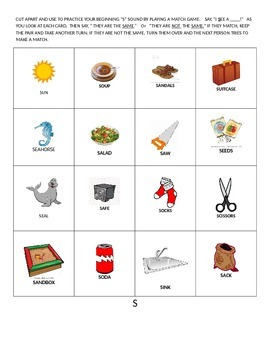 Phoneme specific artic or match game cards  F S SK TH K L