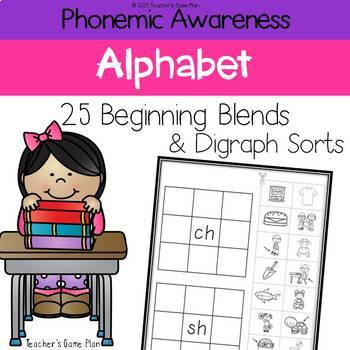 Phonemic Awareness - 25 Blends and Digraphs Picture Sorts