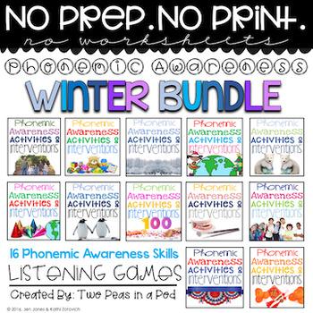 Phonemic Awareness Activities & Interventions - Winter Bundle (Dec, Jan & Feb)
