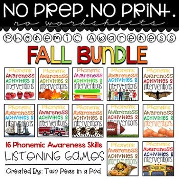 Phonemic Awareness Activities & Interventions - Fall Bundle (Sep, Oct & Nov)
