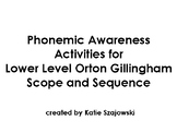 Phonemic Awareness Activities for Lower Level Orton Gillingham