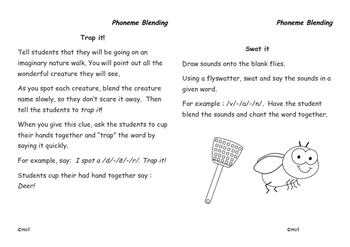 Phonemic Awareness Activity Cards - Phoneme Blending