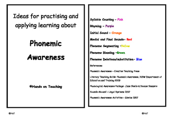 Phonemic Awareness Activity Cards - Syllable Counting
