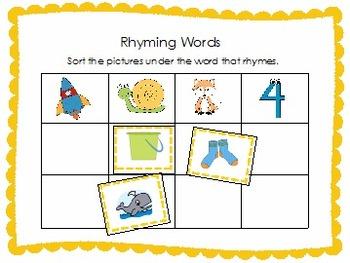 Phonemic Awareness Activity Pack- Rhyming Words