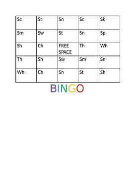 Phonemic Awareness Activity. S blends and digraphs bingo.