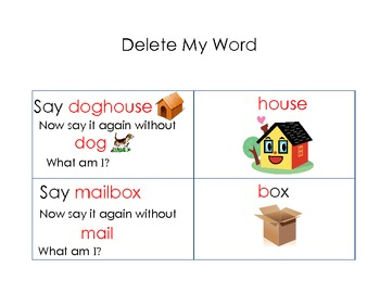 Phonemic Awareness Acvitiy Compound Words with Word Deletion