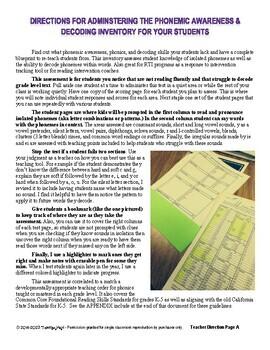 Phonemic Awareness Assessment and Decoding Inventory RTI