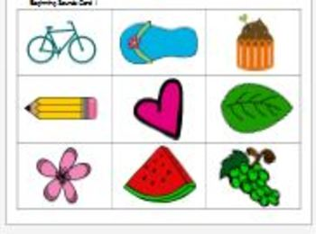 Phonemic Awareness - Beginning Sound Recognition Game Printable