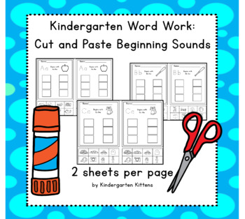 Phonemic Awareness-Beginning Sounds Cut and Paste Word Work