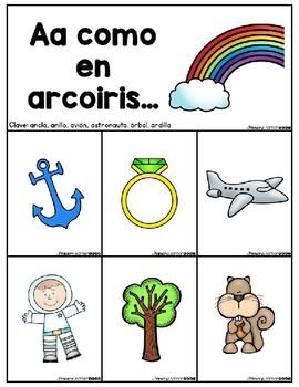 Phonemic Awareness Beginning Sounds Pocket Chart in Spanish Printable PDF