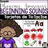 Phonemic Awareness Beginning Sounds Tic-Tac-Toe/Tarjetas de TicTacToe {Spanish}