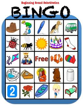 Phonemic Awareness Bingo: Beginning Sound Substitution/Rhyming