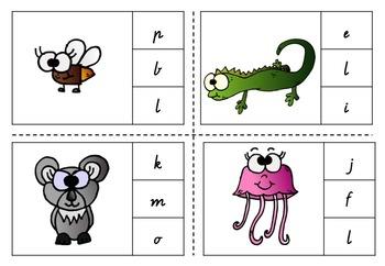 Phonemic Awareness Clip Cards - Animal