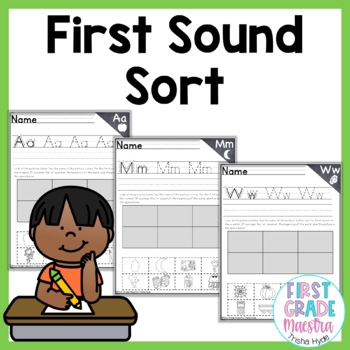 Phonemic Awareness First Sound Fluency Sorts with Handwriting Practice