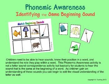 Phonemic Awareness - Identify the Same Beginning Sound