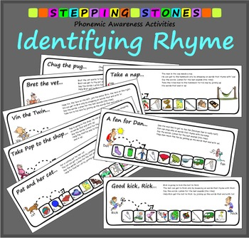 Phonemic Awareness – Identifying Rhyme: Stepping Stones Activities (Color & B&W)