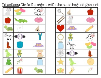 Phonemic Awareness Initial Sound - Beginning Sound Matching Game