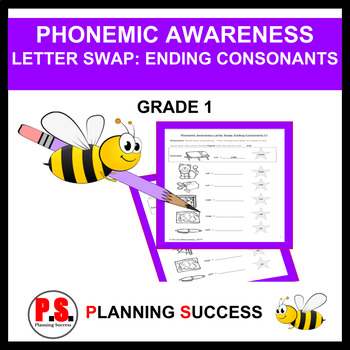 Phonemic Awareness Letter Swap: Ending Consonants