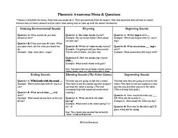 Phonemic Awareness Menu