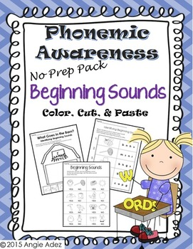 Phonemic Awareness No Prep Pack- Beginning Sounds