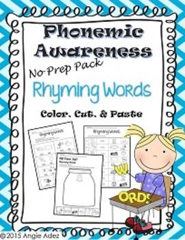 Phonemic Awareness No Prep Pack- Rhyming Words