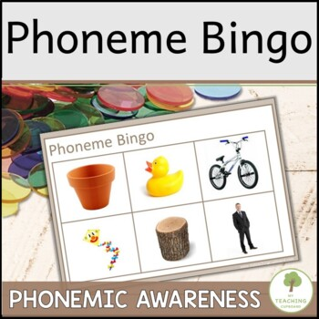 Phonemic Awareness Phoneme Bingo with photo pictures for early readers