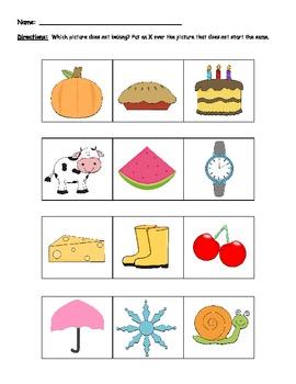 Phonemic Awareness: Phoneme Categorization (beginning sounds)
