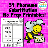Phonemic Awareness Phoneme Substitution 34 No Prep Printables