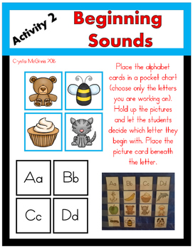 Phonemic Awareness Picture Card Pocket Chart Activities for Young Learners