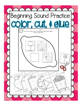 Phonemic Awareness Practice: Beginning Sounds [Color, Cut, & Glue]