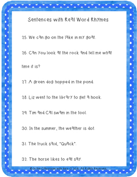 Phonemic Awareness Silly Rhyming Sentences and Matching