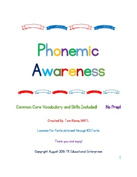 Phonemic Awareness Intervention (Six Weeks - 5 minutes a day!)