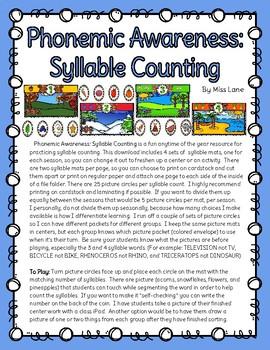 Phonemic Awareness: Syllable Counting Mats (Fun for all Seasons)