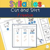Phonemic Awareness Syllable Cut and Sort Worksheets Free