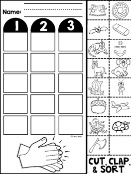 Phonemic Awareness Syllables Cut and Sort