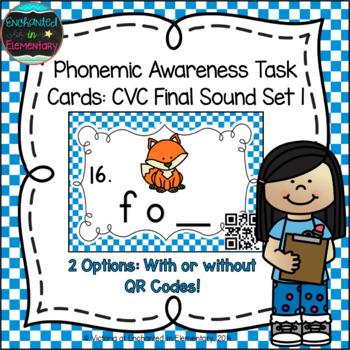 Phonemic Awareness Task Cards: CVC Final Sound Set 1
