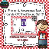 Phonemic Awareness Task Cards: CVC Final Sound Set 3