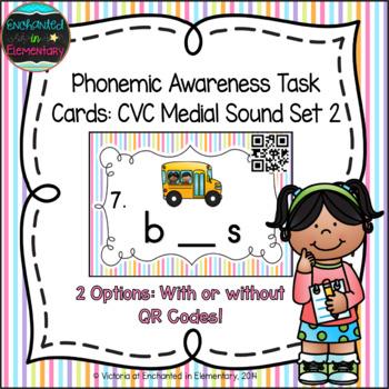 Phonemic Awareness Task Cards: CVC Medial Sound Set 2
