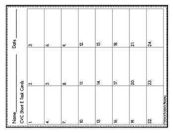 Phonemic Awareness Task Cards: CVC Short E Set