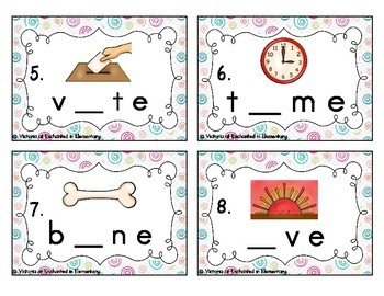 Phonemic Awareness Task Cards: Silent E Set 1