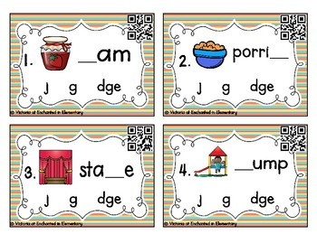 Phonemic Awareness Task Cards: j, g, and dge set