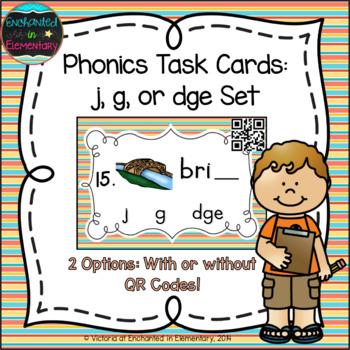 Phonics Task Cards: j, g, and dge set